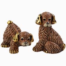 Brown Dog and Puppy Ceramic Figurine Set | De Rosa | Rinconada | F189-F389