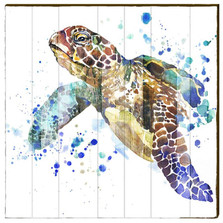 Sea Turtle Watercolor Wood Wall Art 30x30 | Mill Wood | SEA4-30X30