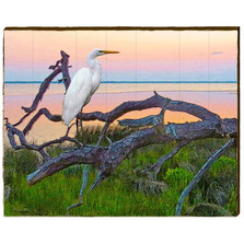 Egret Sunset Branch Wood Wall Art 30x24 | Mill Wood Art | EGR9-30x24