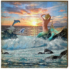 Mermaid Sunrise Wood Wall Art 30x30 | Mill Wood Art |  MER9-30x30