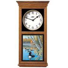 "Loon Oak Wood Regulator Wall Clock ""Seasons of the Lake"" 