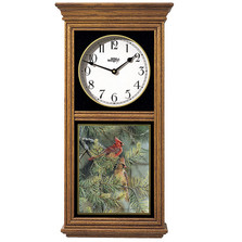Cardinals in Pine Oak Wood Regulator Wall Clock | Wild Wings | 5982662626