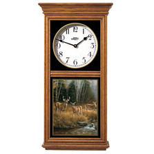 "Deer Oak Wood Regulator Wall Clock ""October Mist"" 