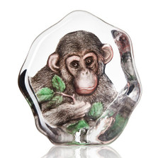 Chimpanzee Painted Crystal Sculpture | 34202 | Mats Jonasson Maleras