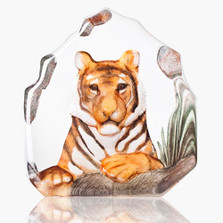 Tiger Painted Crystal Sculpture | 34175 | Mats Jonasson Maleras