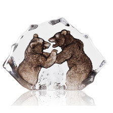 Grizzly Bears Painted Crystal Sculpture | 34173 | Mats Jonasson Maleras