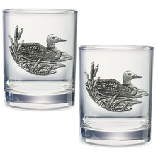Loon Double Old Fashioned Glass Set of 2 | Heritage Pewter | DOF4074