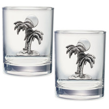 Palm Double Old Fashioned Glass Set of 2 | Heritage Pewter | DOF4216