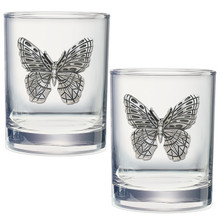 Butterfly Double Old Fashioned Glass Set of 2 | Heritage Pewter | DOF4053