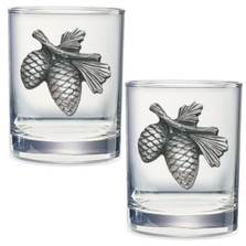 Pine Cone Double Old Fashioned Glass Set of 2   Heritage Pewter   DOF3022