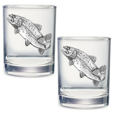 Trout Double Old Fashioned Glass Set of 2 | Heritage Pewter | DOF4034