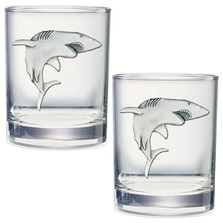 Shark Double Old Fashioned Glass Set of 2 | Heritage Pewter | DOF3350