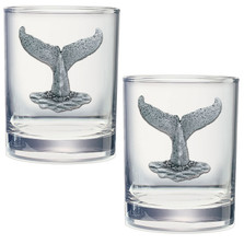 Whale Tail Double Old Fashioned Glass Set of 2 | Heritage Pewter |  DOF4057