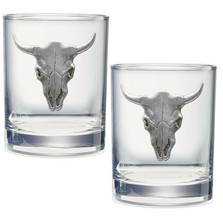 Longhorn Double Old Fashioned Glass Set of 2 | Heritage Pewter | DOF3270