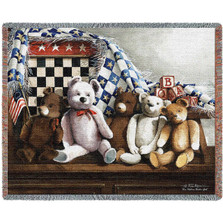 "Teddy Bear Throw Blanket ""One Nation Under God"" 