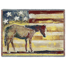 "Horse Throw Blanket ""Red White Blue"" 