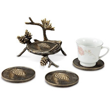 Pinecone & Branch Coaster Set of 4 | 33733 | SPI Home