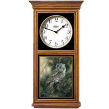 Screech Owl Oak Wood Regulator Wall Clock | Wild Wings | 5982662630