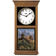 "Bison Oak Wood Regulator Wall Clock ""Old Timers"" 