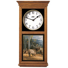"Elk Oak Wood Regulator Wall Clock ""Meadow Music"" 