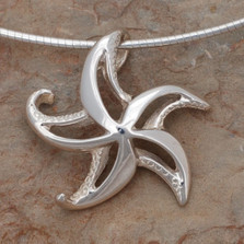 "Starfish Pendant Necklace ""Starry""   Big Blue Jewelry   Roland St. John   BC16-18"
