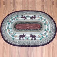 Moose Pinecone Oval Braided Rug | Capitol Earth Rugs | OP-19