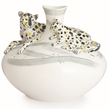 Leopard Sculptured Porcelain Vase | FZ02831 | Franz Porcelain Collection