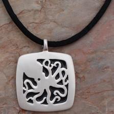 Octopus Pendant Silver Necklace | Big Blue Jewelry | Roland St. John | SQ01BLK