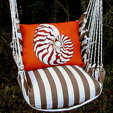 """Nautilus Shell Hammock Chair Swing """"Striped Chocolate""""   Magnolia Casual   SCCHNL-SP -2"""