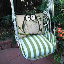 "Owl Striped Hammock Chair Swing ""Summer Palm"" 