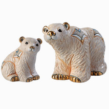 Arctic Polar Bear and Baby Ceramic Figurine Set | De Rosa | Rinconada | F163-F363