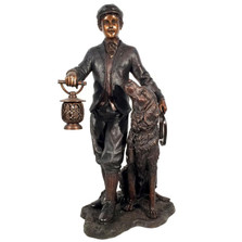 Man and Retriever Lantern Bronze Outdoor Statue | Metropolitan Galleries | SRB25447