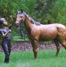 Horse and Girl Bronze Outdoor Statues | Metropolitan Galleries | SRB41076