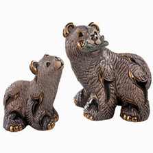 Grizzly Bear and Cub Ceramic Figurine Set | De Rosa | Rinconada | F148-F348