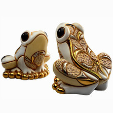 White Frog and Baby Ceramic Figurine Set | De Rosa | Rinconada | F126W-F326W