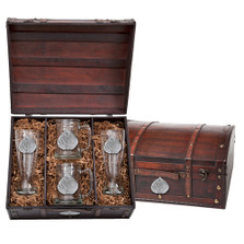 Aspen Leaf Beer Glass Chest Set | Heritage Pewter | HPIBCS4051