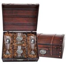 Leopard Beer Glass Chest Set | Heritage Pewter | HPIBCS137