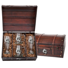 Lizard Beer Glass Chest Set | Heritage Pewter | HPIBCS4054