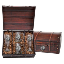 Manatee Beer Glass Chest Set | Heritage Pewter | HPIBCS4110