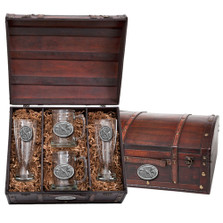 Pheasant Beer Glass Chest Set | Heritage Pewter | HPIBCS123
