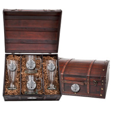 Sand Dollar Beer Glass Chest Set | Heritage Pewter | HPIBCS3300