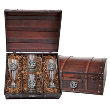 Sea Otter Beer Glass Chest Set | Heritage Pewter | HPIBCS4187