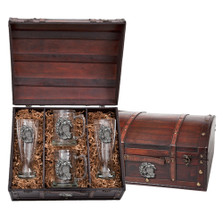 Sea Turtle Beer Glass Chest Set | Heritage Pewter | HPIBCS4146