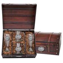 Wolf Beer Glass Chest Set | Heritage Pewter | HPIBCS102