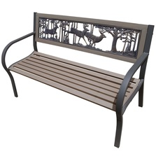 Deer Bucks 2-Tone Tube Steel Outdoor Bench | Painted Sky | TSB2-BK