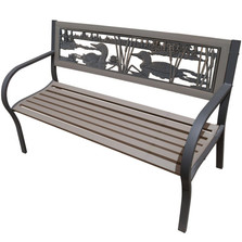 Loon 2-Tone Tube Steel Outdoor Bench | Painted Sky | TSB2-LN