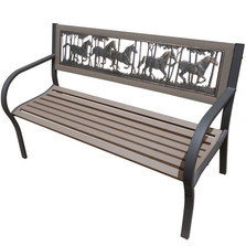 Horse Running 2-Tone Tube Steel Outdoor Bench | Painted Sky | TSB2-RH