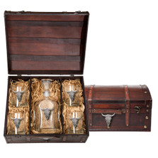 Longhorn Cattle Decanter Chest Set | Heritage Pewter | HPICPTC3270