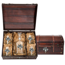 Pine Cone Decanter Chest Set   Heritage Pewter   HPICPTC3022