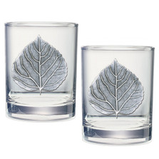Aspen Leaf Double Old Fashioned Glass Set of 2 | Heritage Pewter | HPIDOF4051